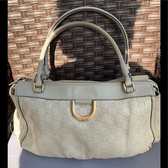 Gucci Handbags - Gucci Beige Leather GG Bag Great Size, Great Bag!!